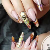 Подсолнухи на ногтях в стиле Жостово. Яркий аквариум.